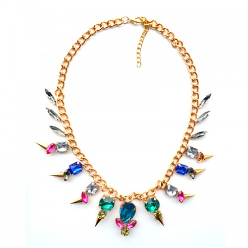 Colourful Gem Stone with Stud Short Necklace
