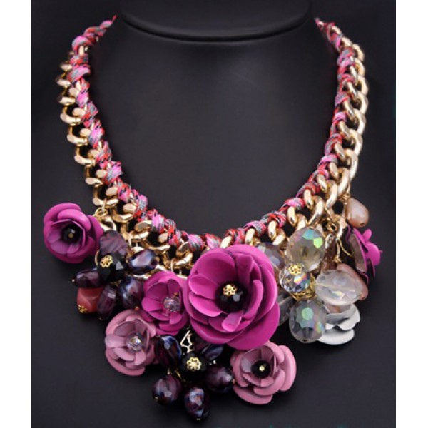 Pink Colourful rosy With Crystal-Liked Necklace