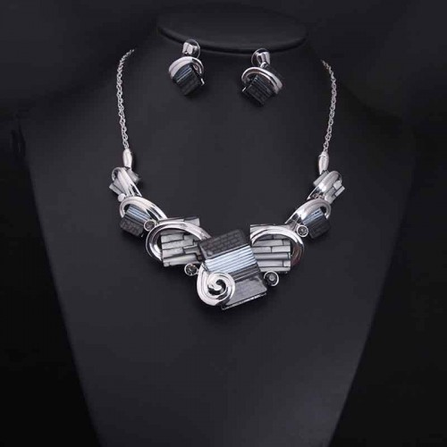Grey Retro Gemstone Necklace Ear Ring (Set)