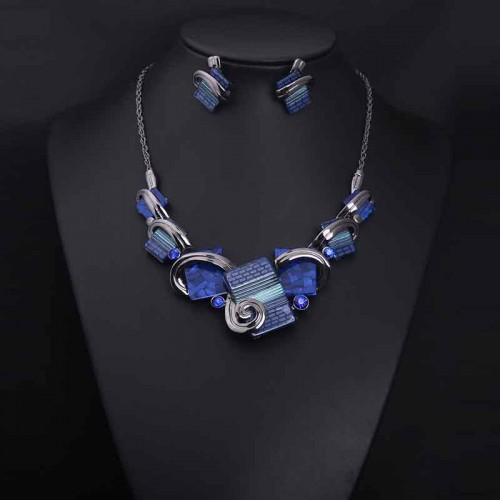 Blue Retro Gemstone Necklace Ear Ring (Set)