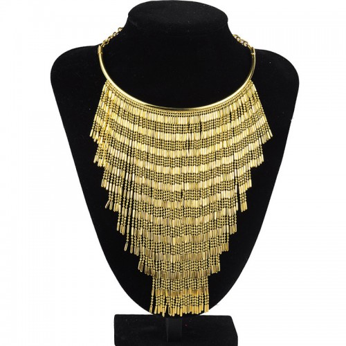 Triangle Gold Fringe Necklace