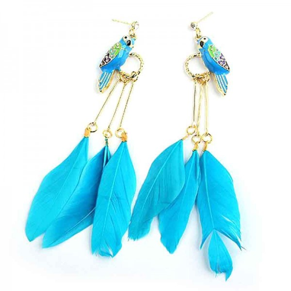 Blue Parrot Feather Ear Ring