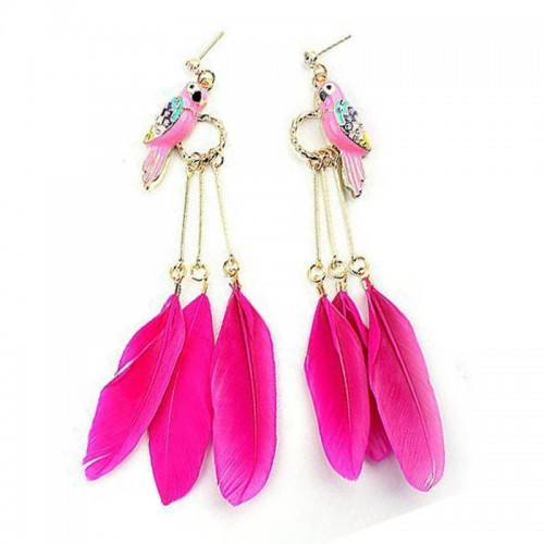 Pink Parrot Feather Ear Ring