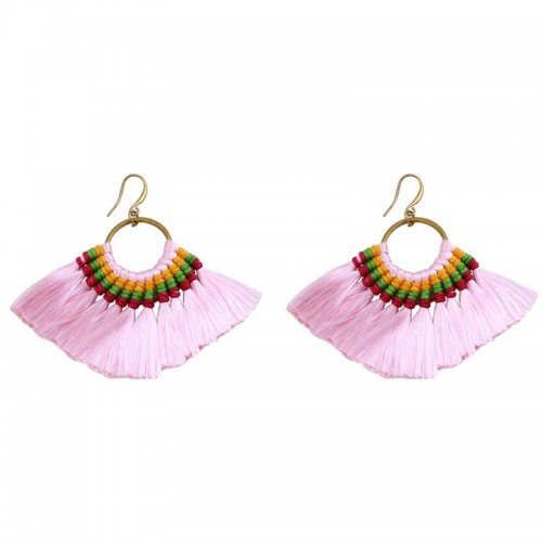 Light Pink Tribal Hoop Earring