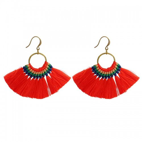 Red Tribal Hoop Earring