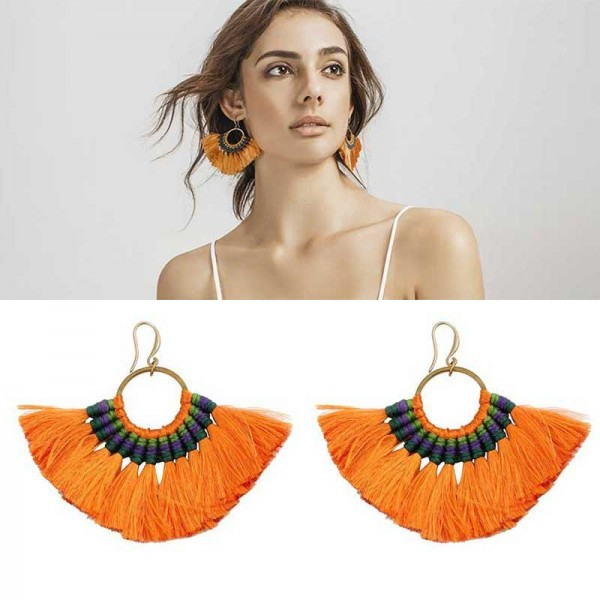 Orange Tribal Hoop Earring