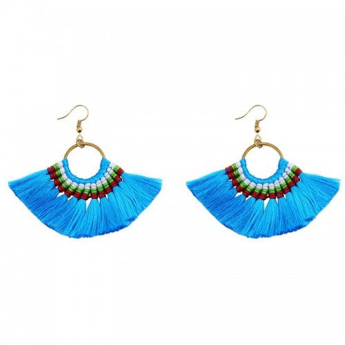 Blue Tribal Hoop Earring