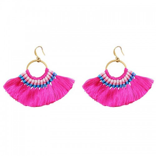 Pink Tribal Hoop Earring