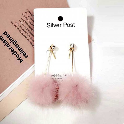 Furry Ball Pom Pom Ear Ring (Pink)