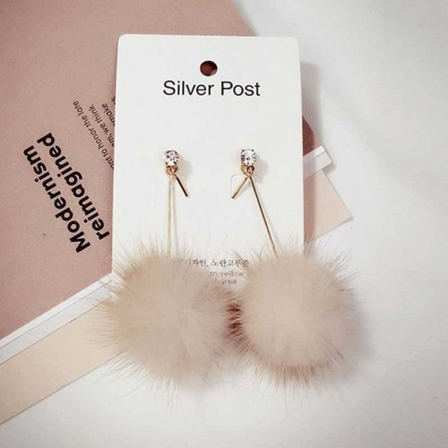 Furry Ball Pom Pom Ear Ring (Brown)