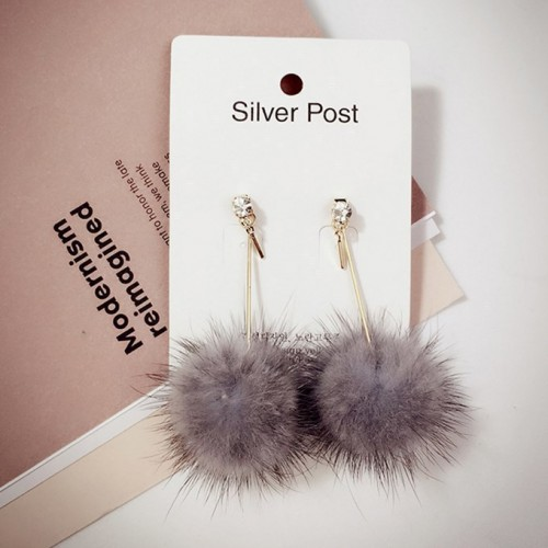 Furry Ball Pom Pom Ear Ring (Grey)
