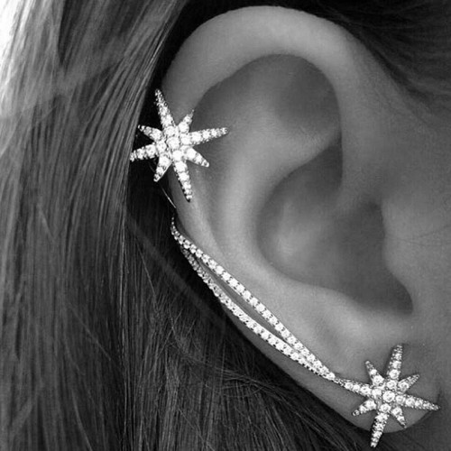 Snow Flake Ear Cuff Ear Ring Set
