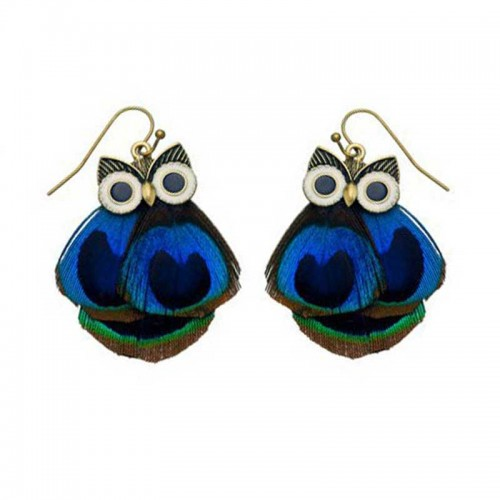 Peacock Feather Owl Earrings