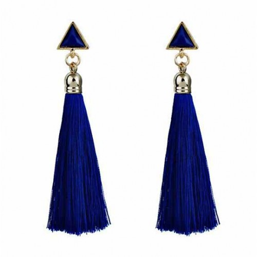 Triangle Tassel Earring (Blue)