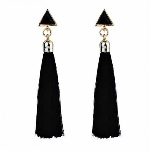 Triangle Tassel Earring (Black)