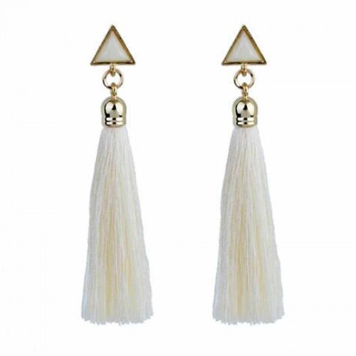 Triangle Tassel Earring (White)
