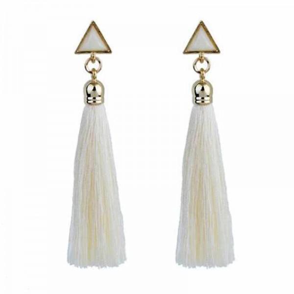 Triangle Tassel Earring (White)