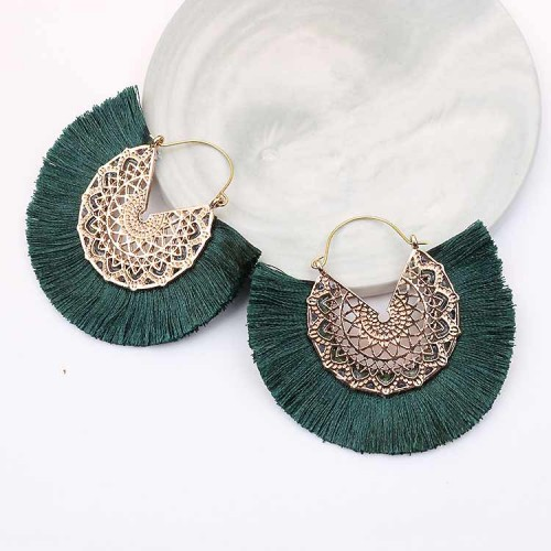 Tassel Fan Ear Ring (Dark Green)