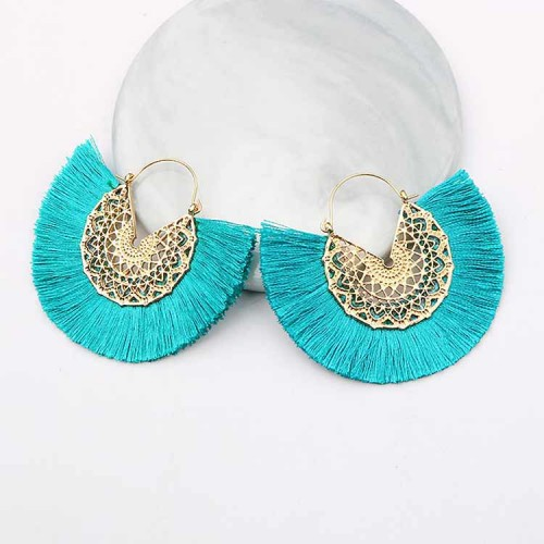 Tassel Fan Ear Ring (Green)