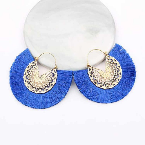 Tassel Fan Ear Ring (Blue)