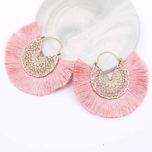 Tassel Fan Ear Ring (Pink)
