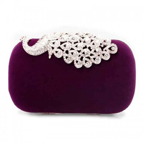 Purple Shimmering Peacock Velvet Clutch