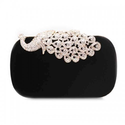 Black Shimmering Peacock Velvet Clutch