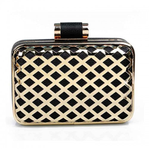 Metal Frame PU Clutch with Square Pattern