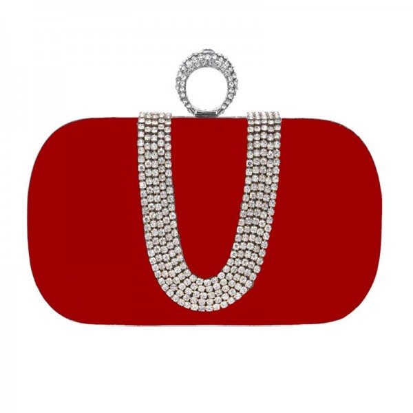 Red U-Stone Rectagular Clutch