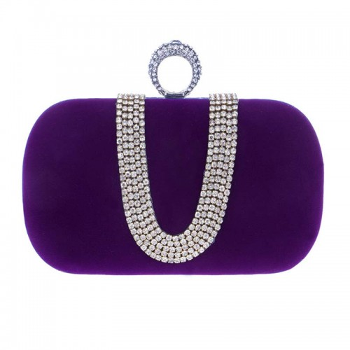 Purple U-Stone Rectagular Clutch