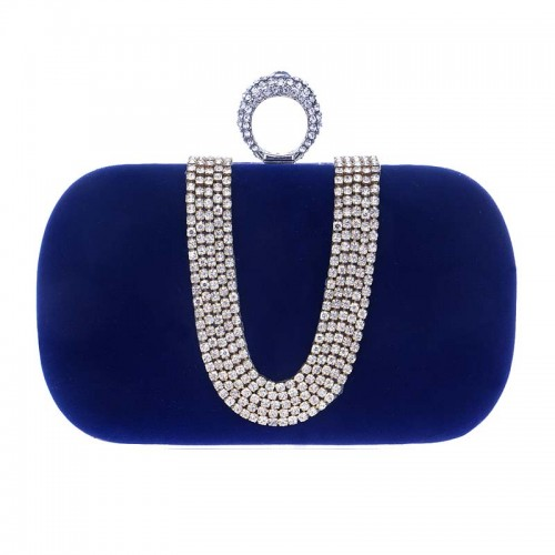 Blue U-Stone Rectagular Clutch