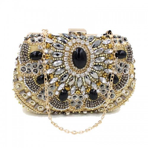 Gold Beaded Rectagular Clutch