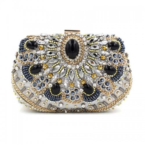 Silver Beaded Rectagular Clutch
