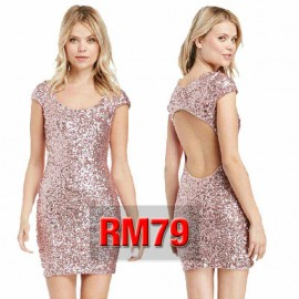 PINK SEQUIN SHORT BACKLESS DRESS