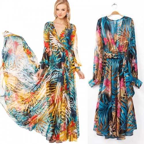 Blue Floral Printed Long Sleeves Swing Dress (Size L,XL)