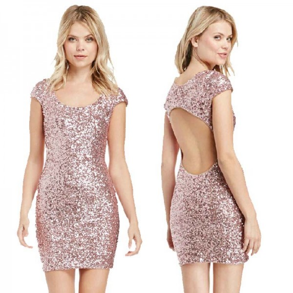 Pink Sequin Short Backless Dress (Size L)