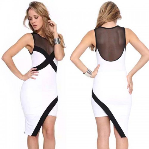 White Sheer Mesh Irregular Midi Dress