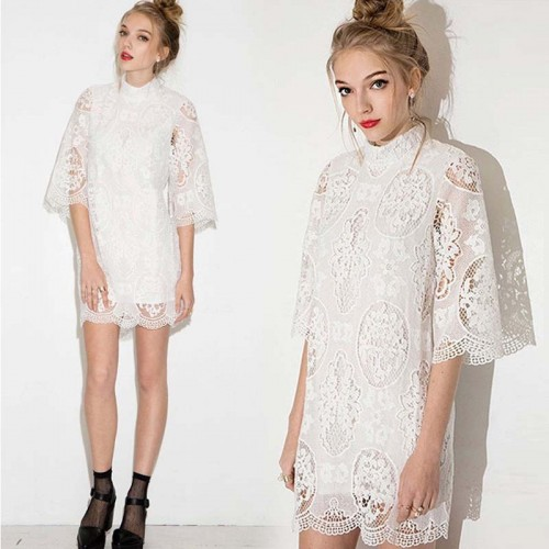 High Neck Short Lace Dress