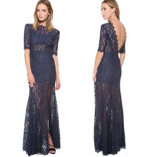 Deep Blue Sleeved Long Lace Dress (FREE Stick On Bra) (Size M)