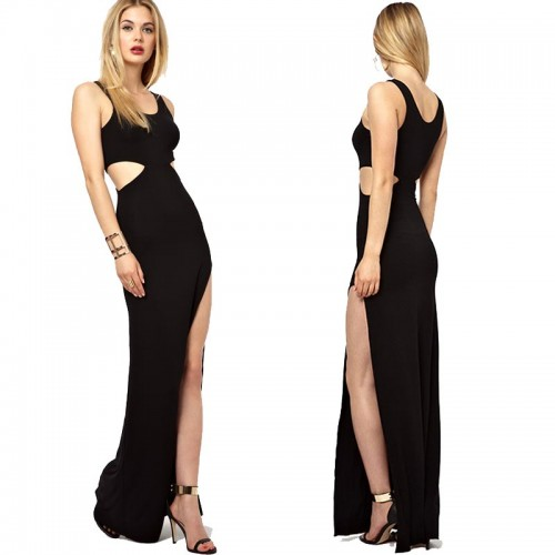 Black Open Slit Cut Out U Neck Dress