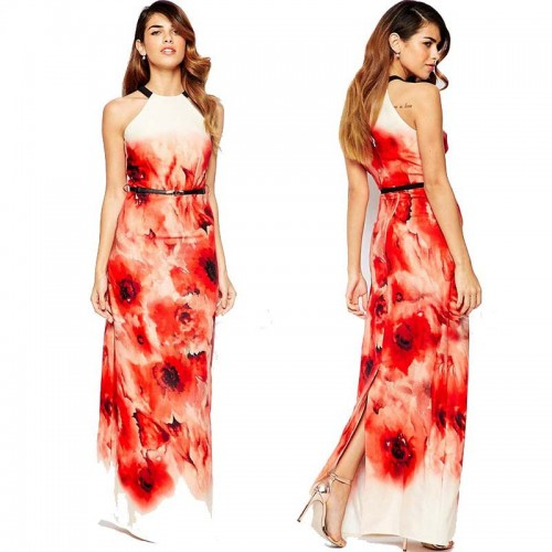 Floral Halter Long Dress