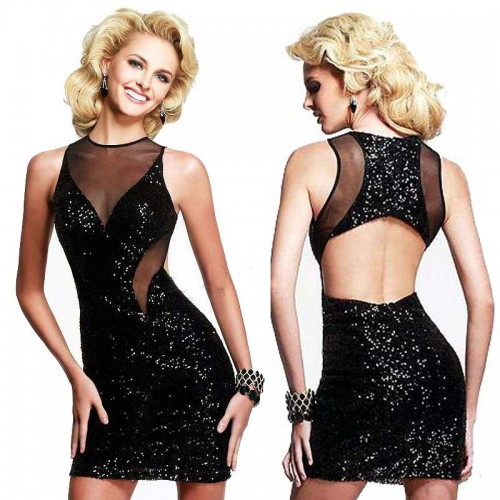 Sequin Backless Cocktail Dress