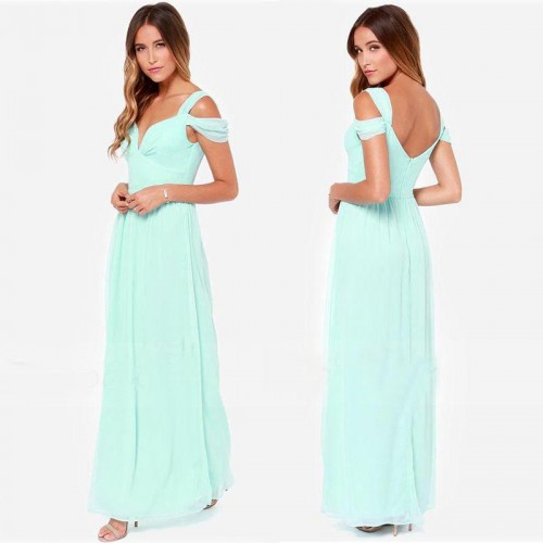 Green V Cut Chiffon Long Slit Dress (with BraPad)