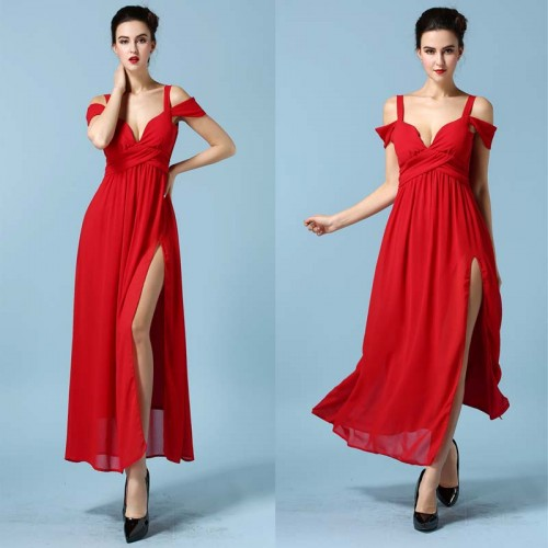 V Cut Chiffon Long Slit Dress (with BraPad)