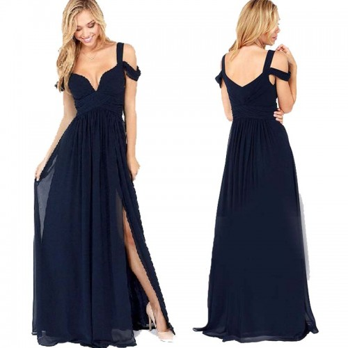 Blue V Cut Chiffon Long Slit Dress (with BraPad)