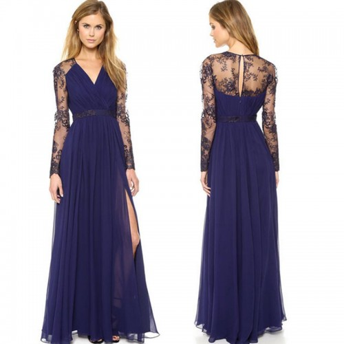V Neck Lace Sleeves Blue Long Slit Dress