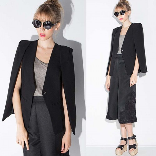 Button Cape Jacket