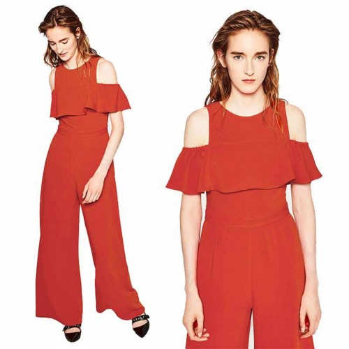 Crop Shoulder Long Jumpsuit