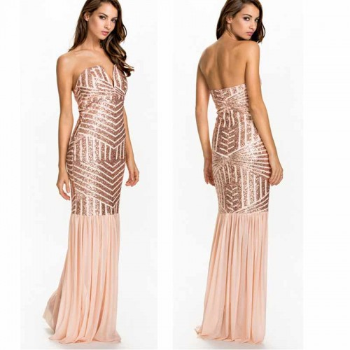 Sequin Low Cut Evening Tube Dress (Size S)