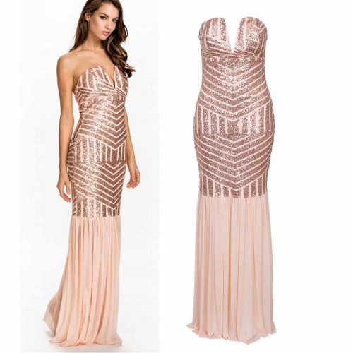 Sequin Low Cut Evening Tube Dress